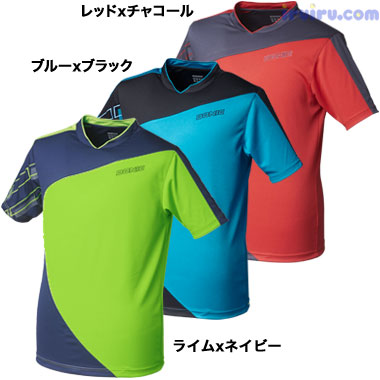 DONIC/DONIC シャツ スナップ レッドxチ